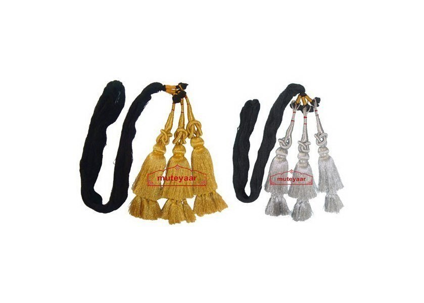 Pack of 2 - GOLDEN & SILVER Traditional Punjabi Paranda tassles Hair Braid 1
