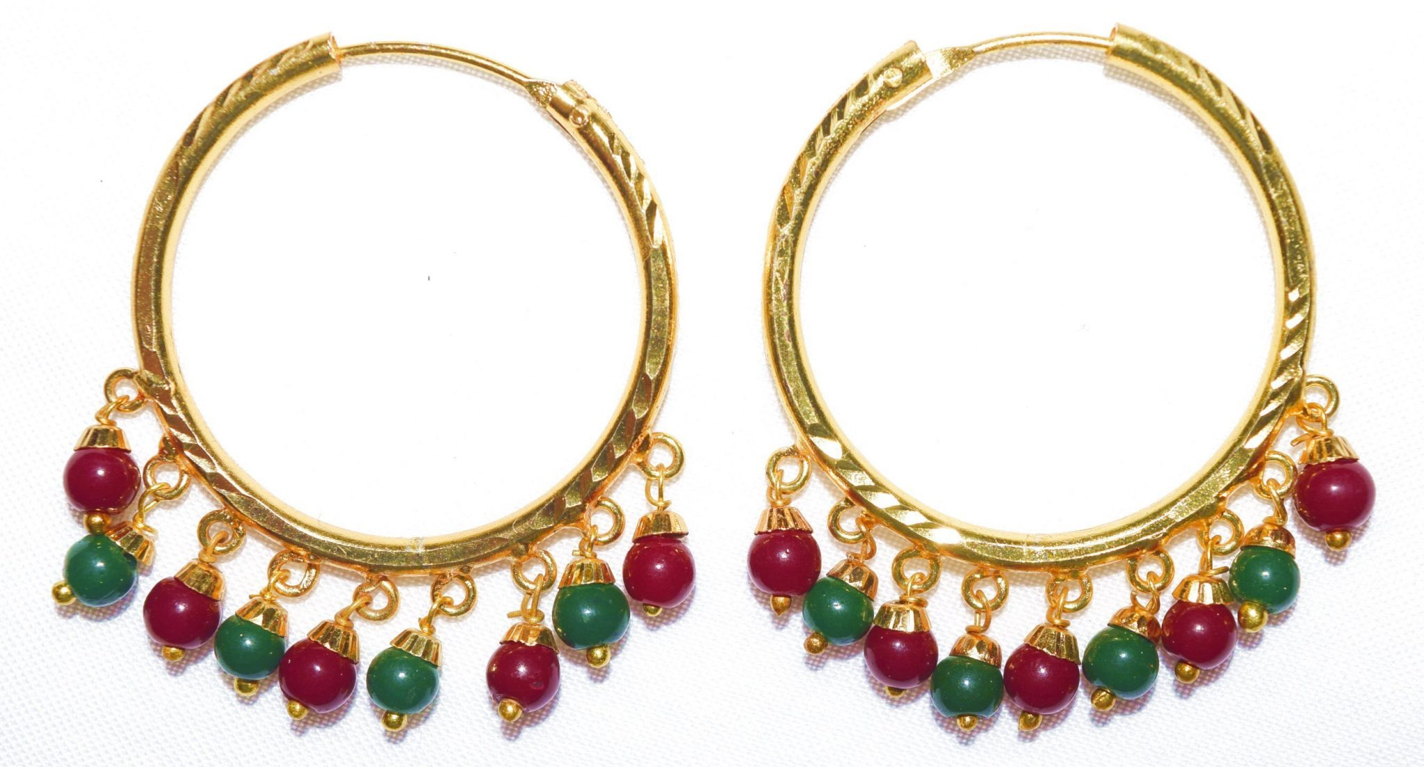 Gold Polished Ear Rings Baliyyan set with two colour beads J0116 1