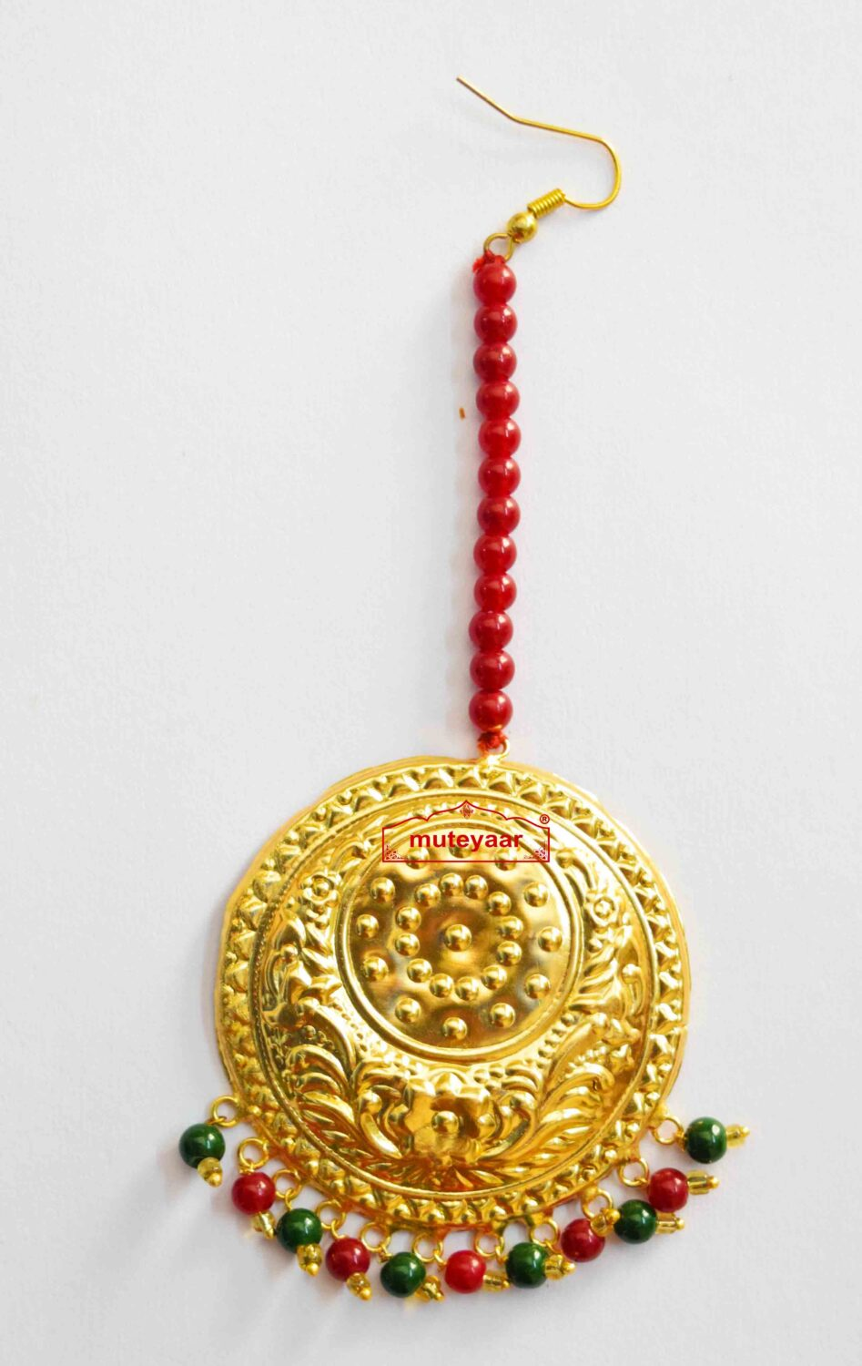 Large Size Golden Tikka Maang Teeka with Maroon Green Beads for giddha and bhangra J0118