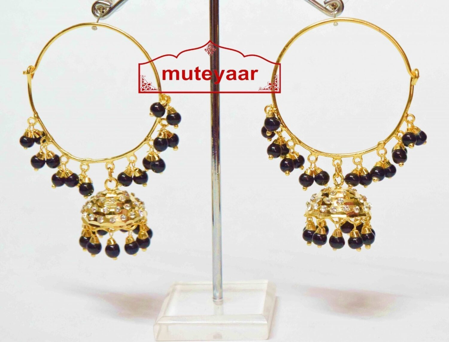 Black Beads Jadau Gold Polished Traditional Punjabi Earrings Bali set J0136