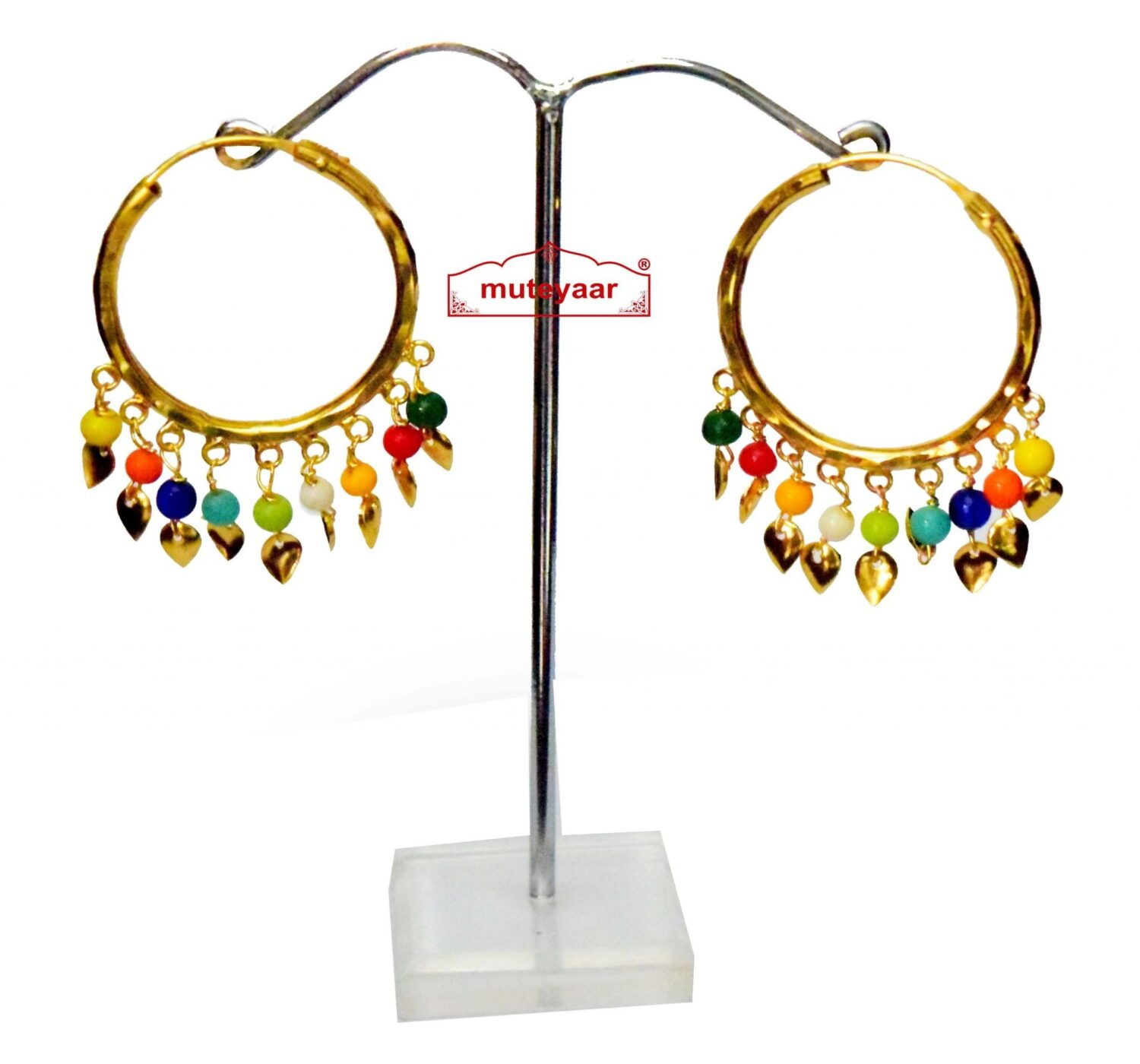 Traditional Punjabi Gold Polished Ear Rings Baliyaan set with Multicolour Beads J0214