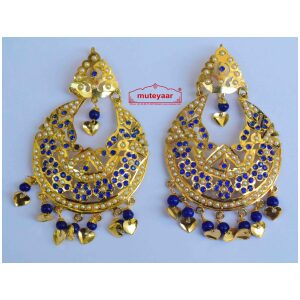 Blue Jadau Beads Gold Polish Traditional Punjabi Jewellery Earrings Jhumka J0255