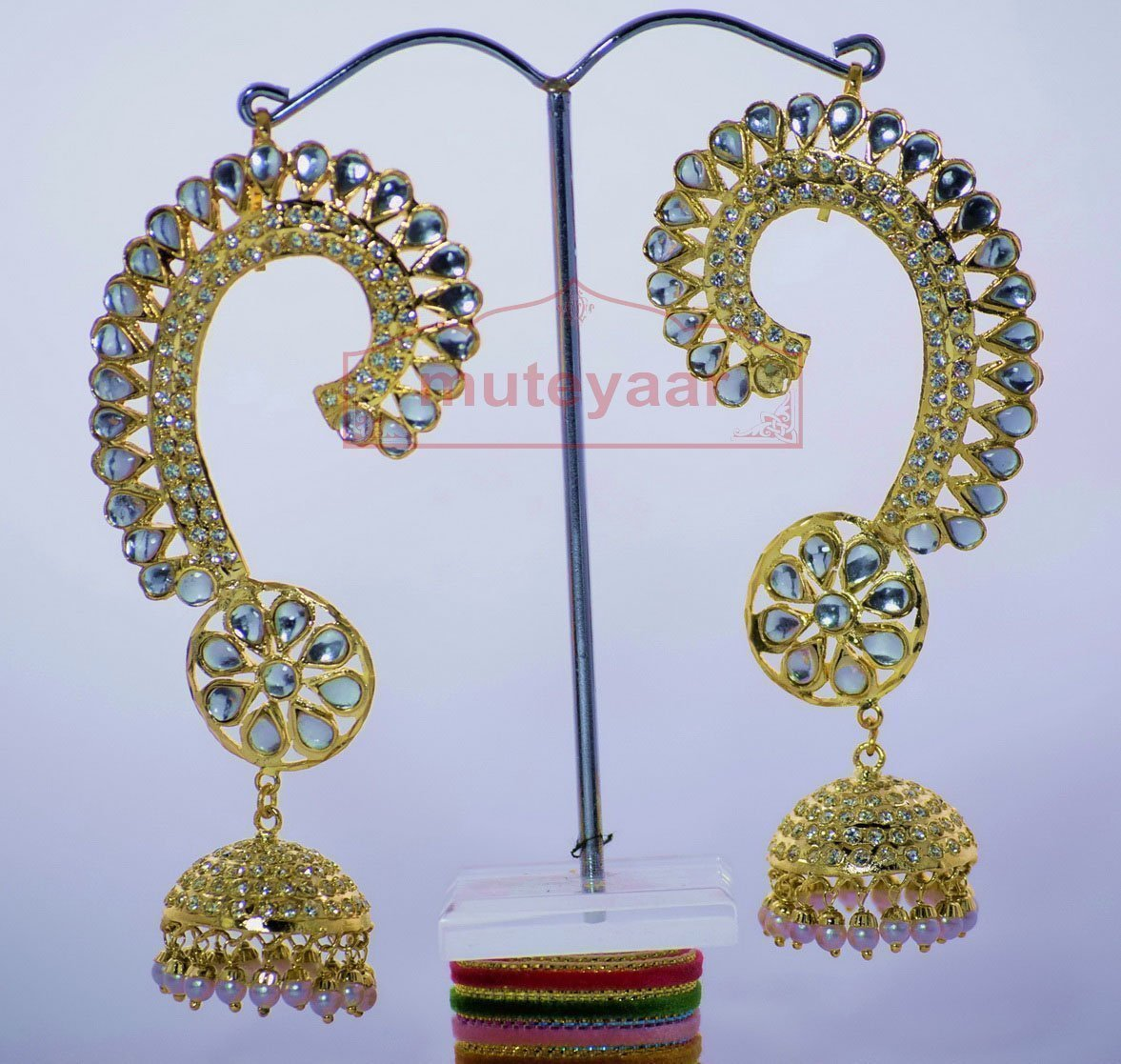 Kundan + Jadau Work Gold Plated Punjabi Traditional Jewellery Earrings set J0269