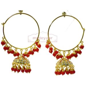 Red Beads Zircons Jadau Gold Plated Traditional Punjabi Jewellery Earrings Bali set J0293