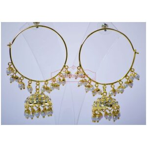 White Beads Zircons Jadau Gold Plated Punjabi Traditional Jewellery Earrings Bali set J0294