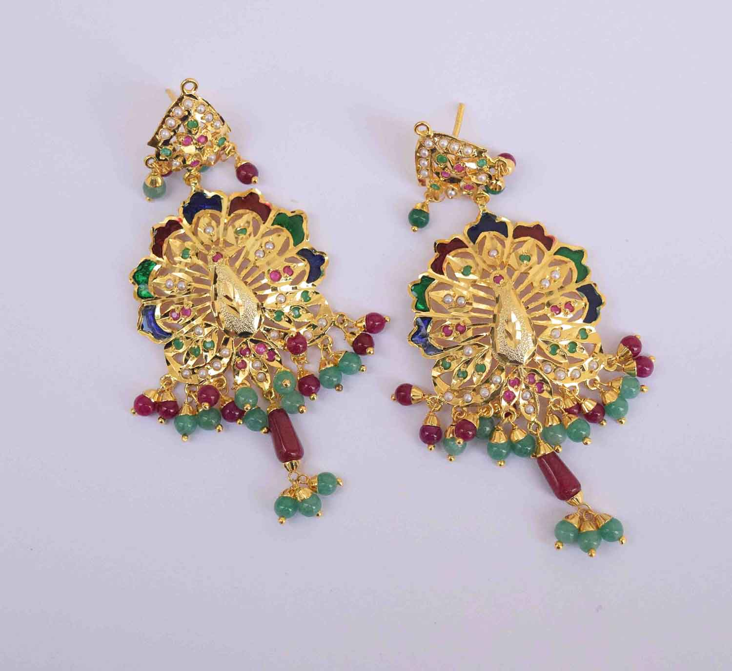 Peacock design Jadau Punjabi Traditional Jewellery Earrings Jhumka J0299 1