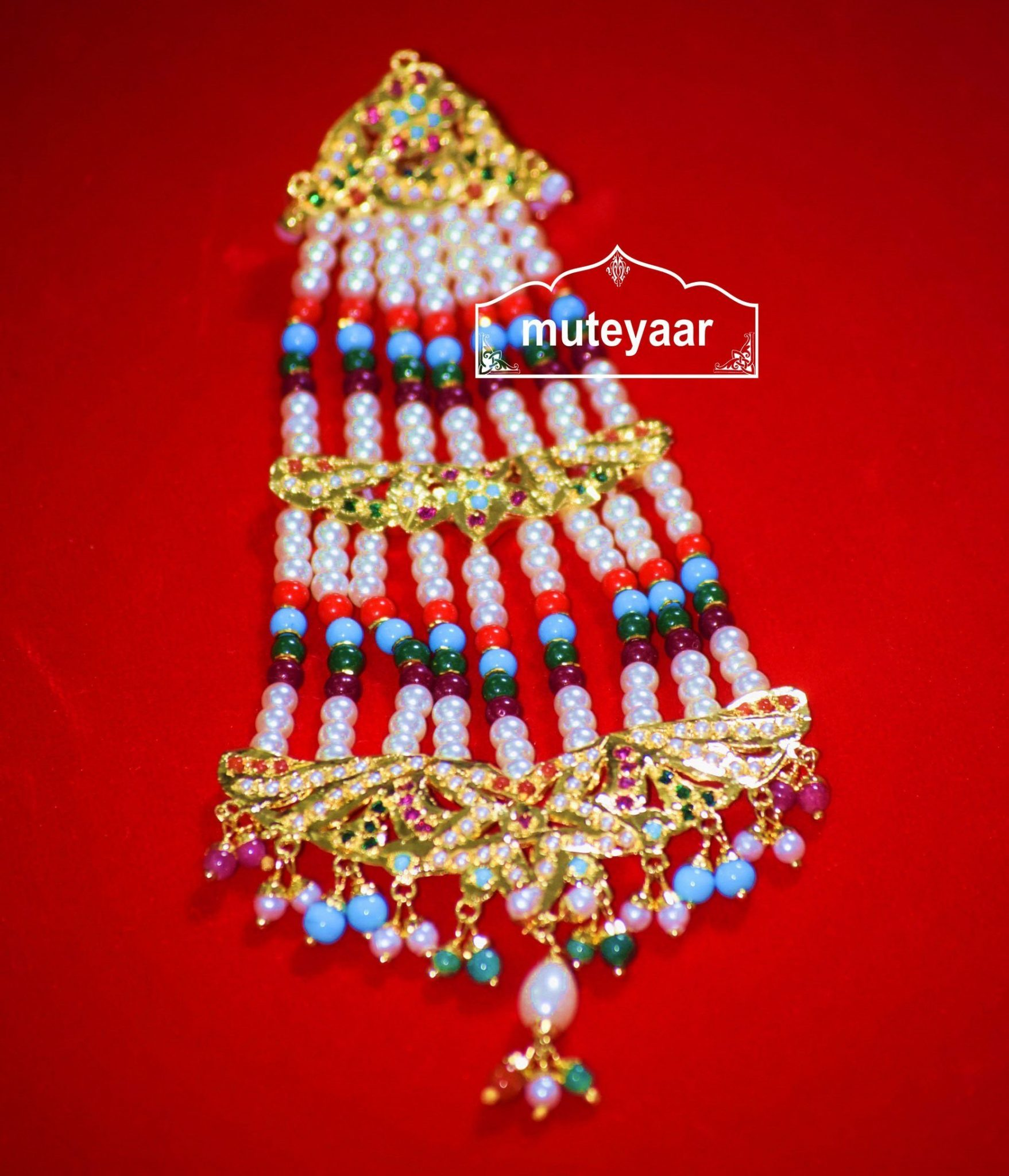Jadau Work Traditional Punjabi Jewellery PASA Hair Accessory J0304 1
