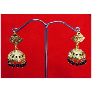 Black Beads Jadau Gold Polished Traditional Punjabi Jhumki Earrings set J0361