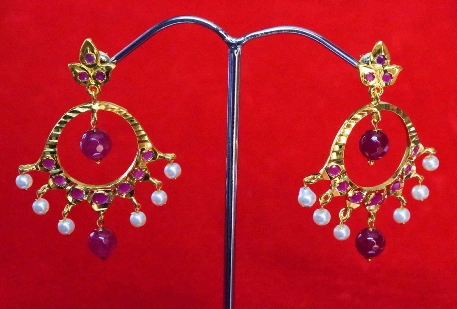 Jadau Gold Polished Traditional Punjabi Earrings set J0362