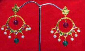 Jadau Gold Polished Traditional Punjabi Earrings set J0364
