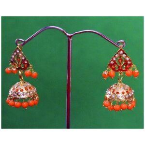 Jadau Gold Polished Traditional Punjabi Jhumki Earrings set J0367