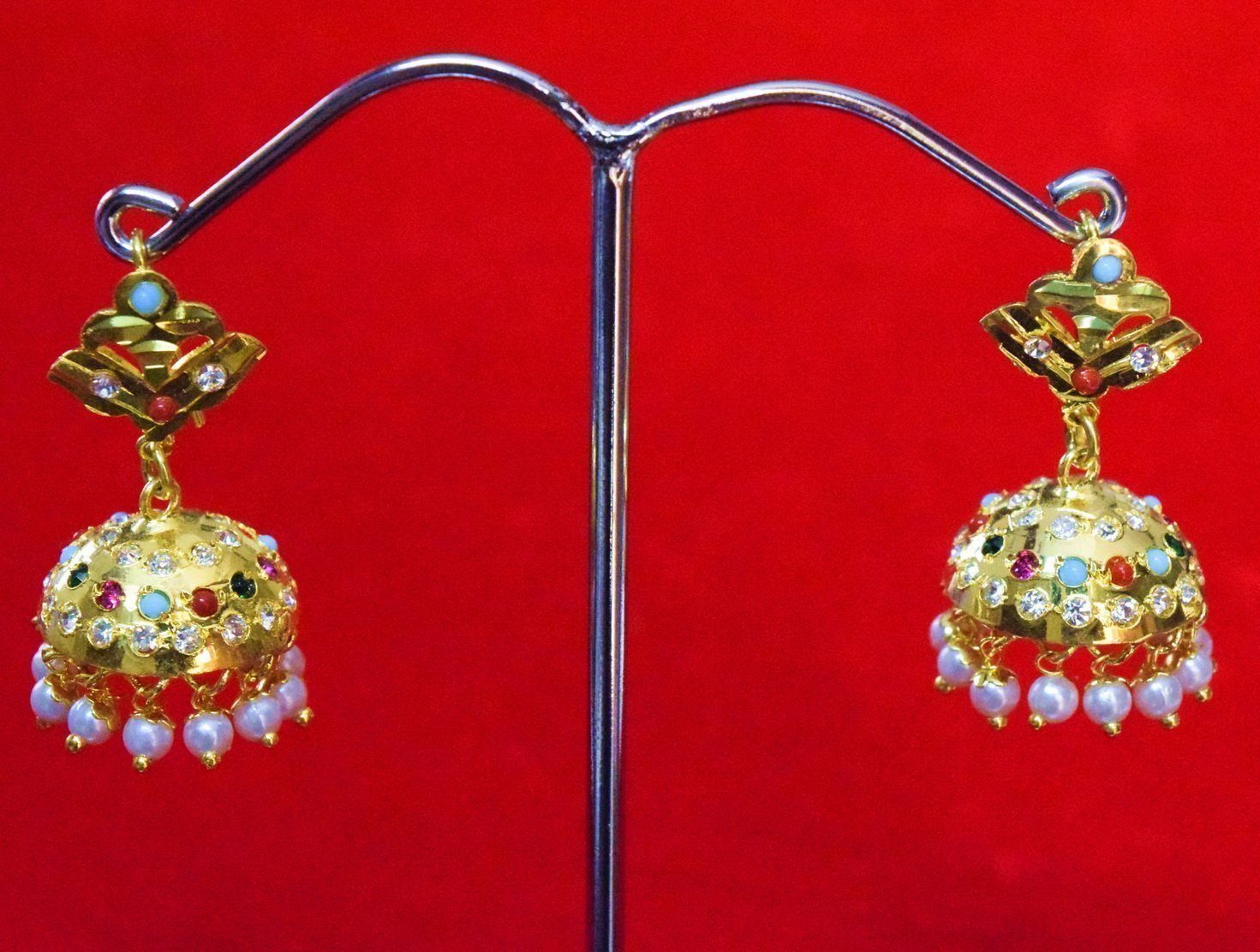 Jadau Gold Polished Traditional Punjabi Jhumki Earrings set J0369