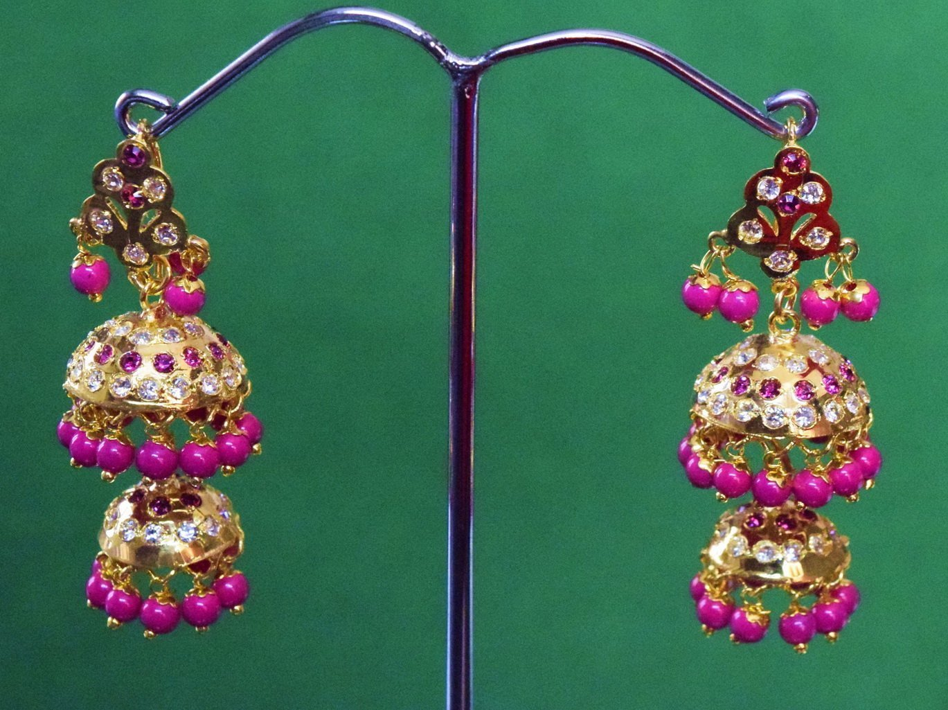 Magenta Beads Jadau Gold Polished Traditional Punjabi Jhumki Earrings set J0370 1