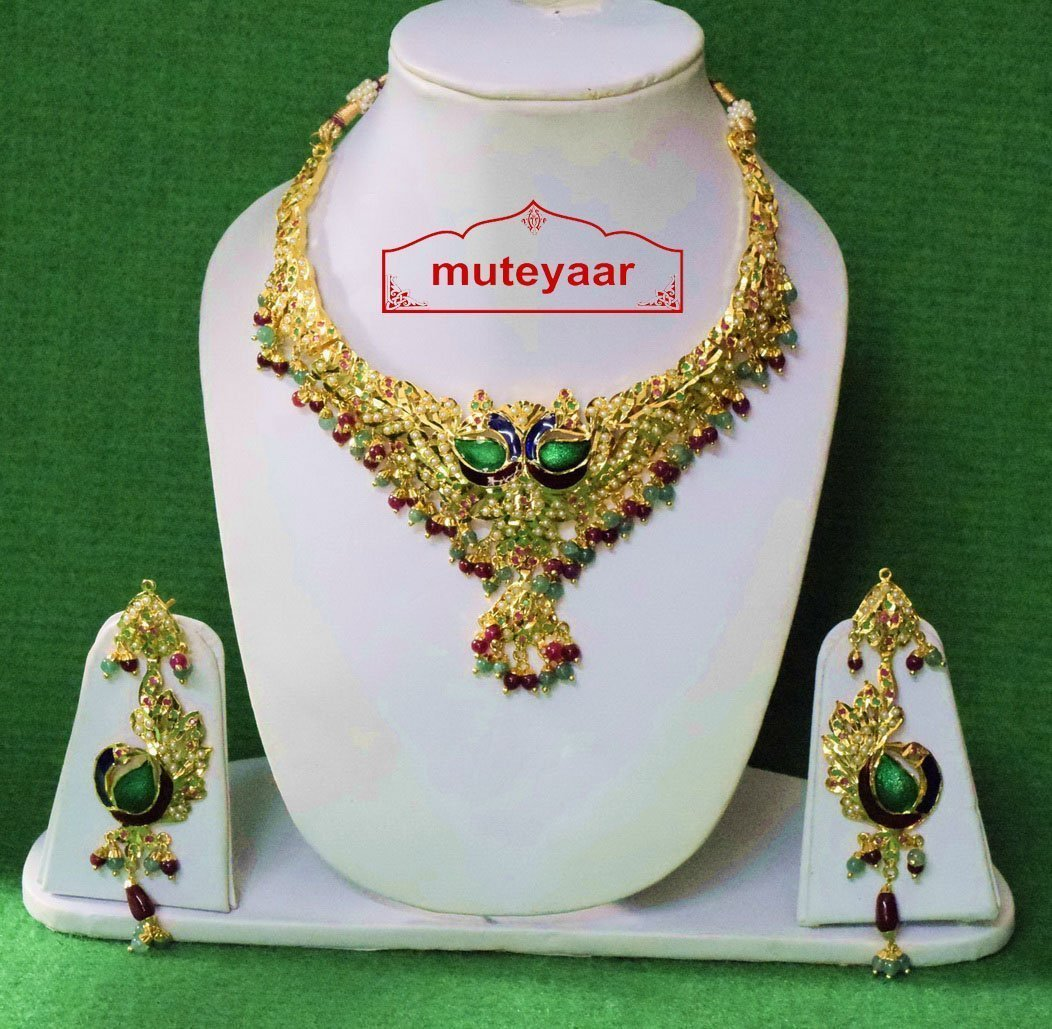 Gold Plated Jadau Bridal Wedding Necklace Earrings set J0377