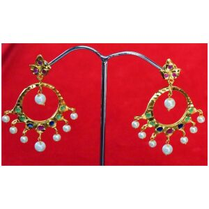 Jadau Gold Polished Traditional Punjabi Earrings set J0379