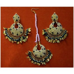 Jadau Traditional Punjabi Jewellery Earrings + Tikka set J0380