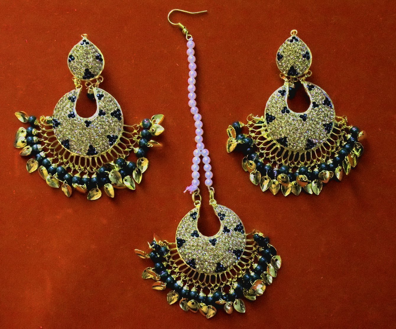 Jadau Traditional Punjabi Jewellery Earrings + Tikka set J0380 1