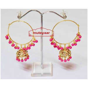 Magenta Beads Jadau Gold Polished Traditional Punjabi Earrings Bali set J0391