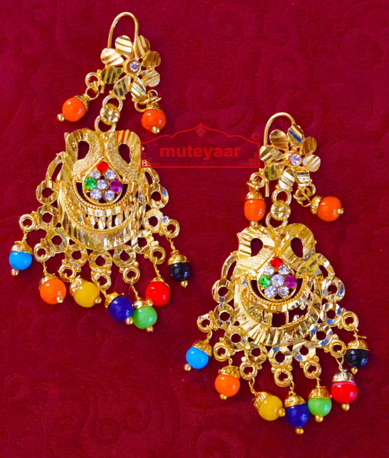 Golden Punjabi Jadau Earrings Jhumka J0413