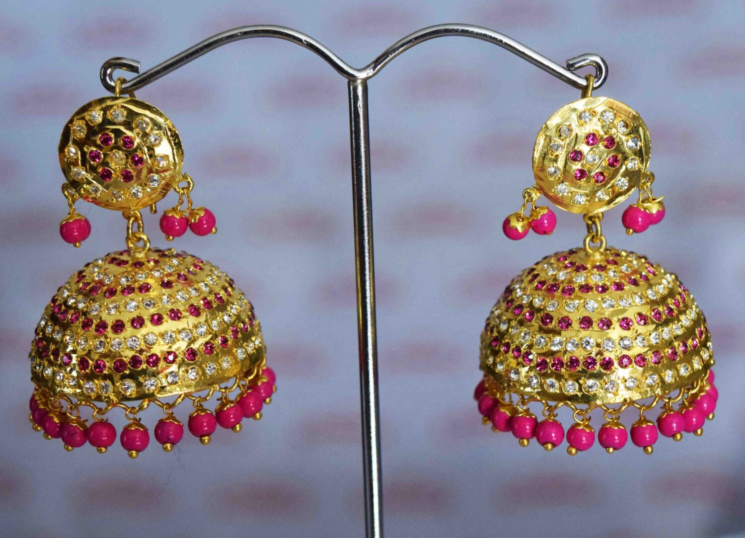 Punjabi Jadau Earrings Big Jhumka with magenta beads J0423