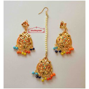Cut Jaali Jadau Gold Polished Traditional Punjabi Jewellery Earrings Tikka set J0429