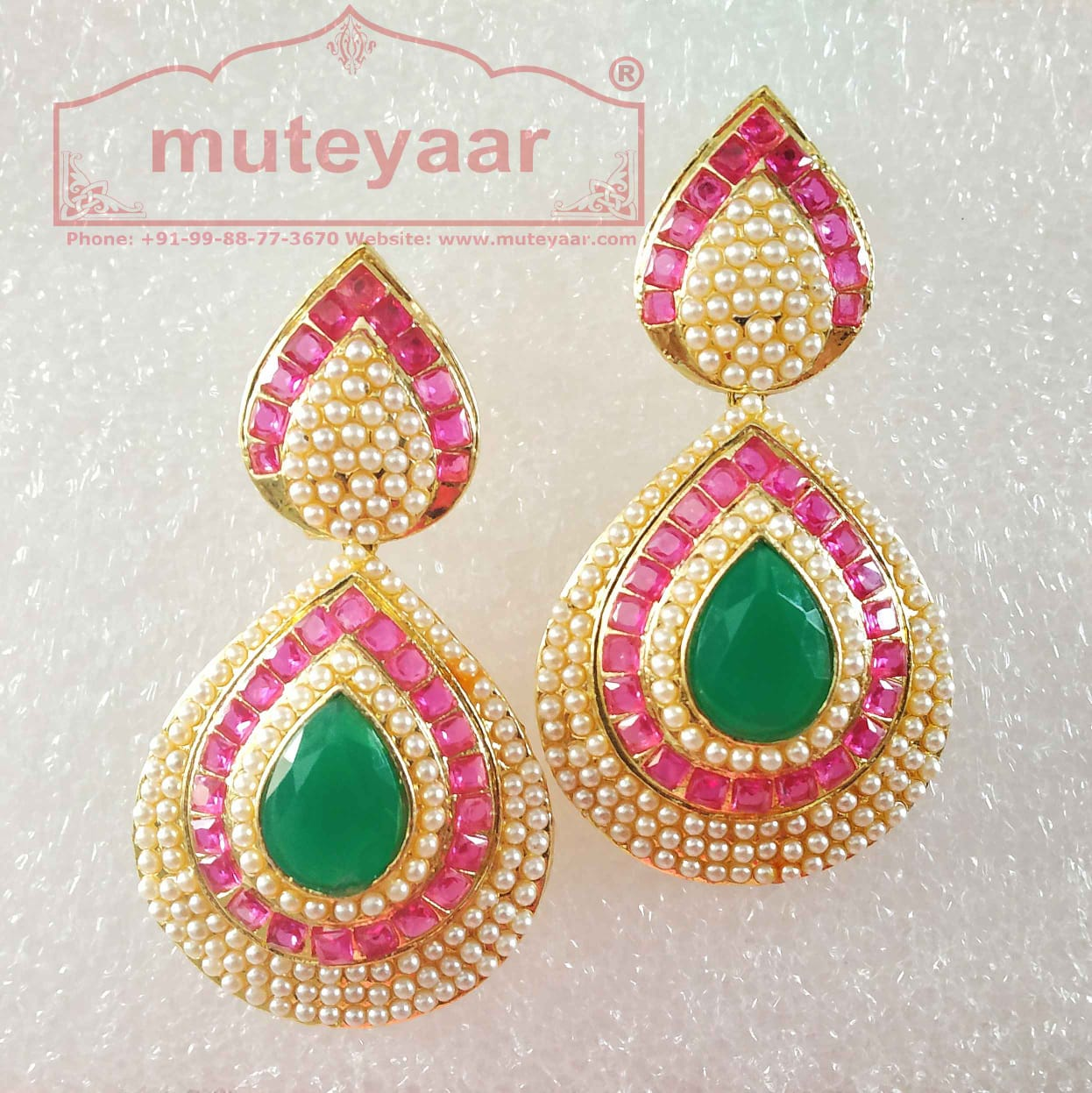 Jadau Work Gold Polished Traditional Punjabi Earrings J0436 1