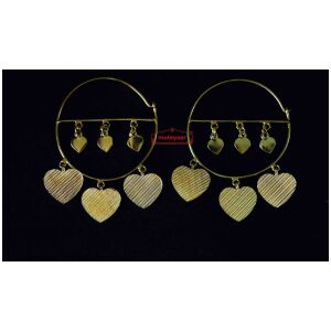 Gold Polished Pipal Pattiyaan Earrings set for giddha bhangra J0449