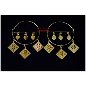 Gold Polished Peepal Patti Earrings set for giddha bhangra J0450