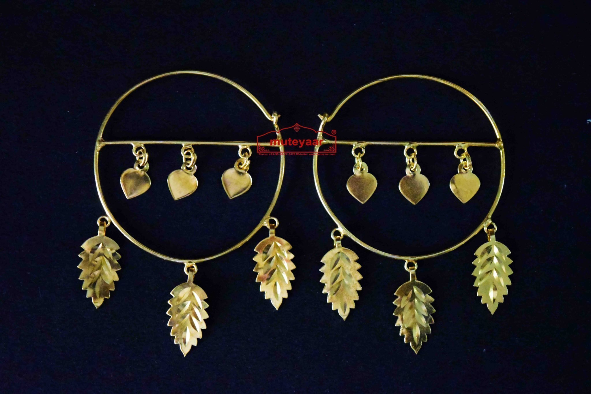 Gold Polished Pippal Pattiyaan Earrings set for giddha bhangra J0451 1