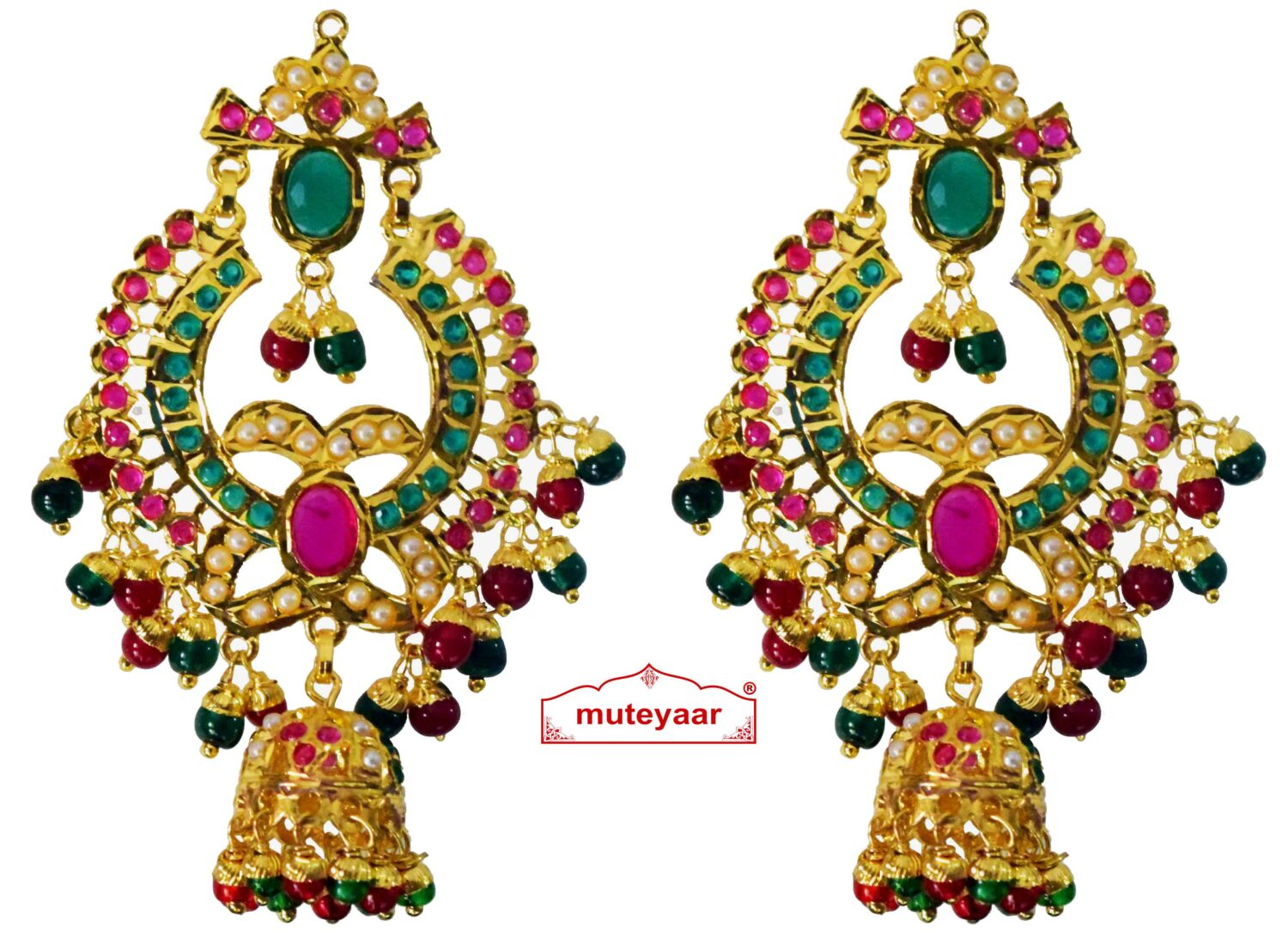 Jadau Gold Polished Punjabi Earrings set J0465 1
