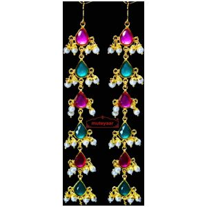 Jadau Gold Polished Long Chain Type Punjabi Earrings set J0466