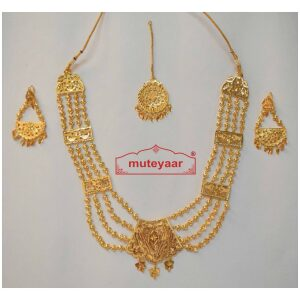 Maharani Haar Bhangra Giddha Jewelery set of Necklace + Earrings + Tikka