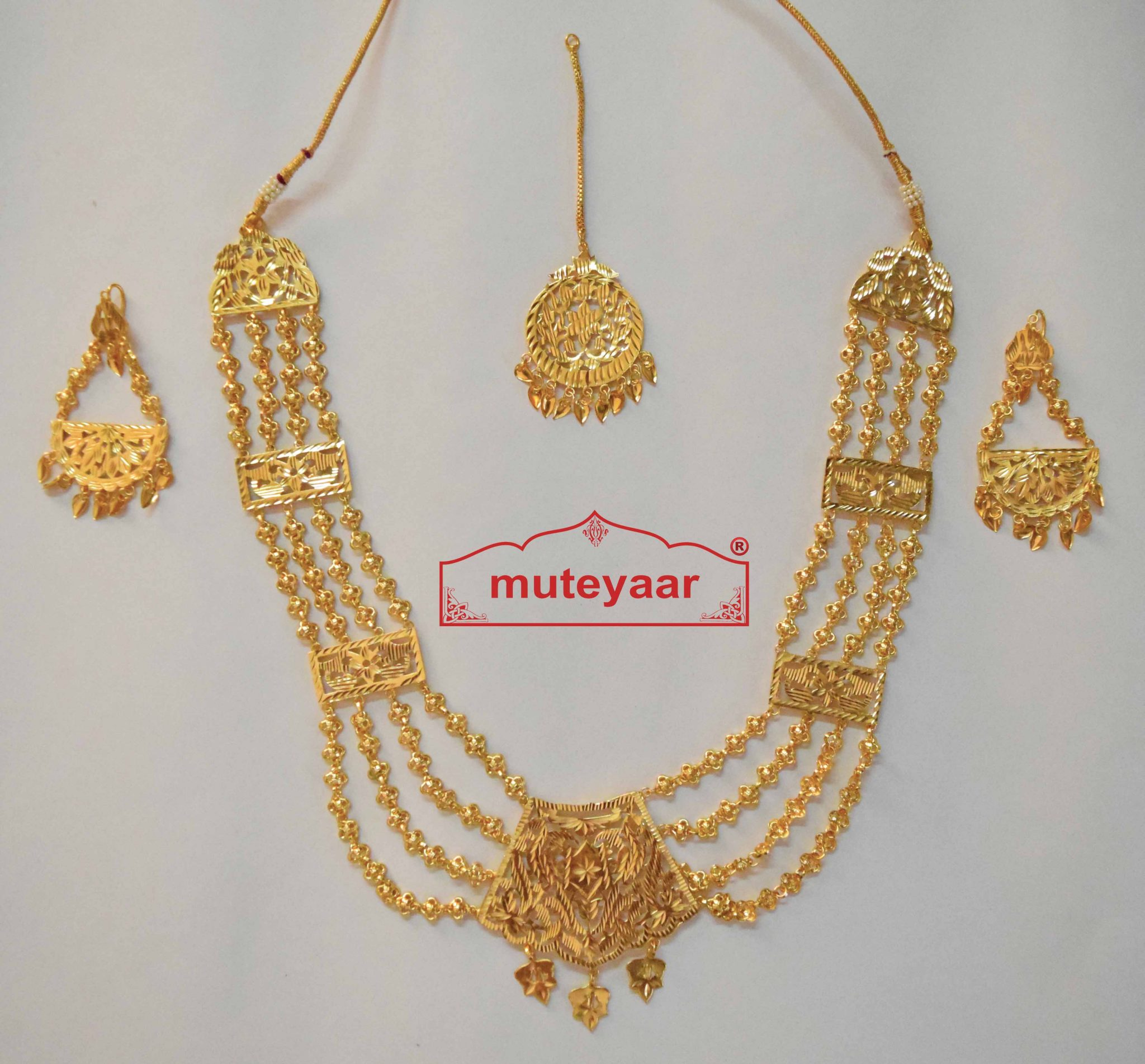 Maharani Haar Bhangra Giddha Jewelery set of Necklace + Earrings + Tikka 1