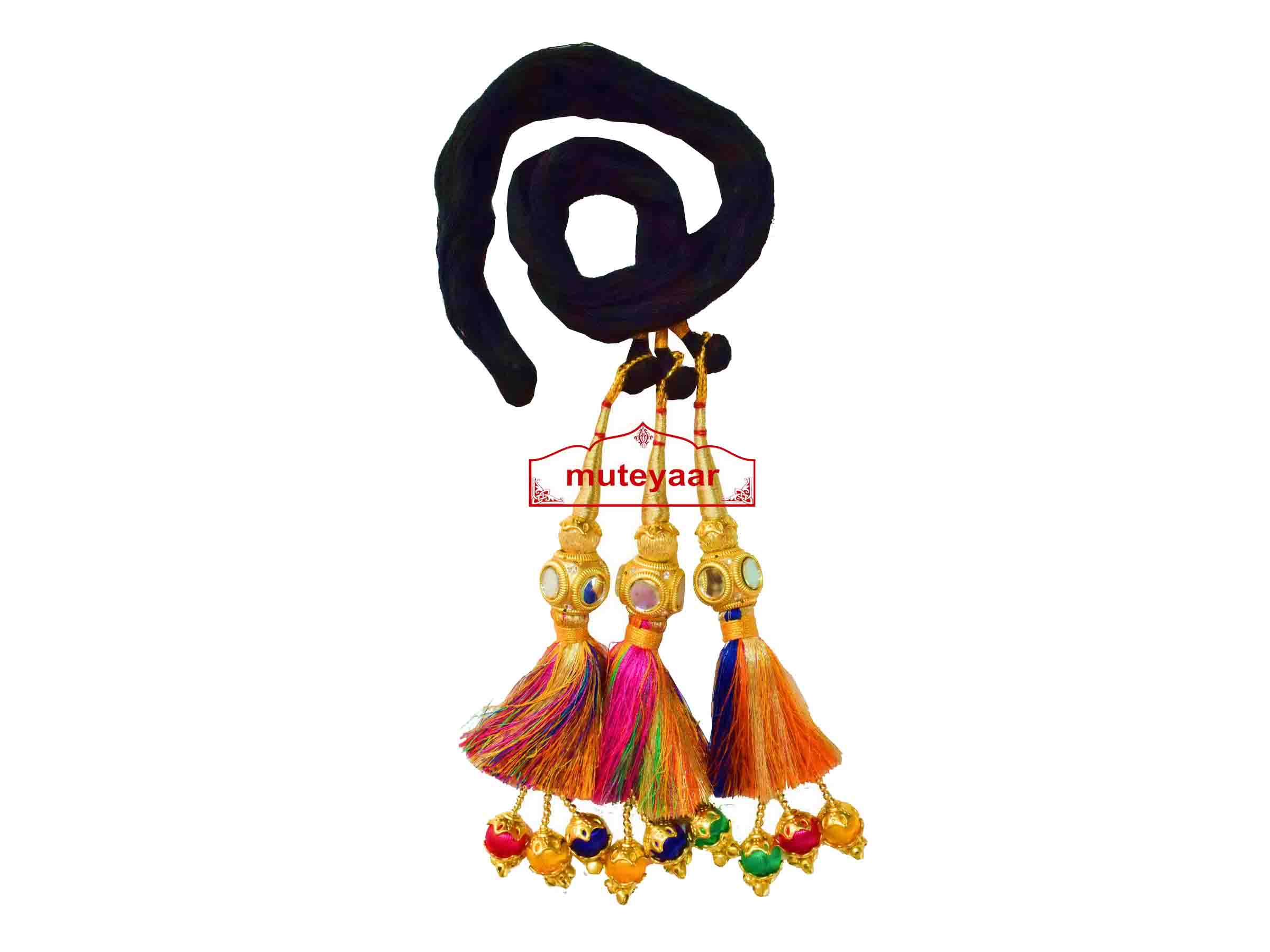 Multi Colour Paranda Parandi Tassles with Mirror Cubes 1