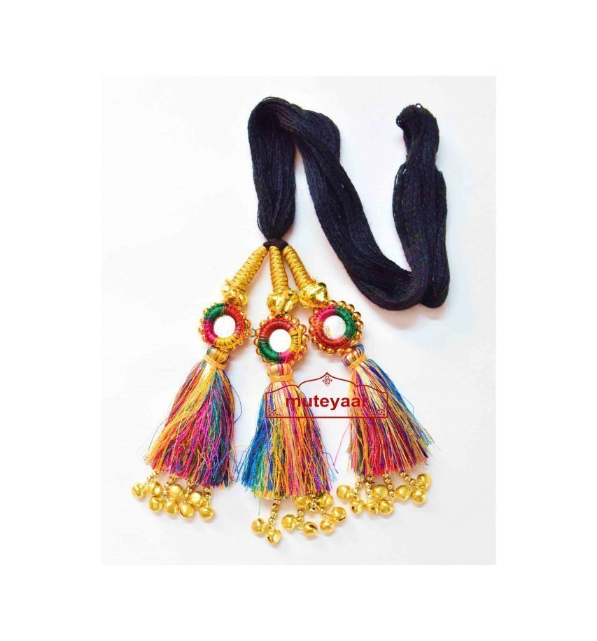 Multi Colour Kids Paranda Parandi with Mirror & Ghungroo
