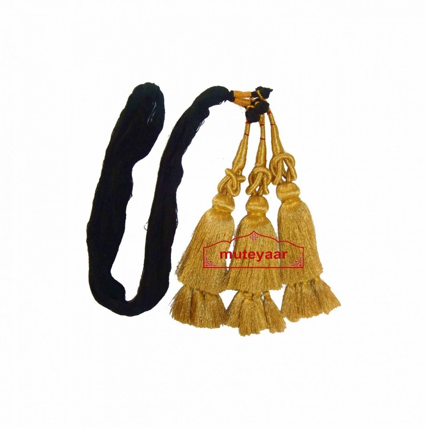 Traditional Punjabi Golden Paranda tassles Hair Braid 1