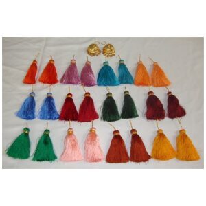 Lotan handicraft jewelery earring set with 12 pairs of tassle phumans