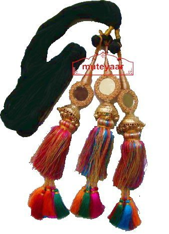 Multi Colour Paranda parandi with Gold Plated Lotan