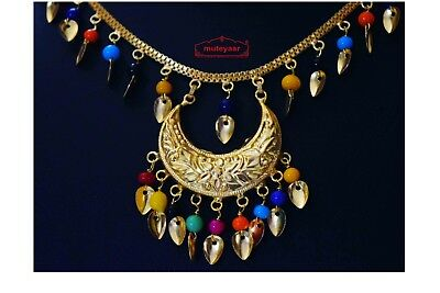 Traditional Punjabi Pendant Earrimgs Tikka Gold Polished Chain Patti Set J0439 3