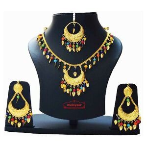 Traditional Punjabi Pendant Earrimgs Tikka Gold Polished Chain Patti Set J0439