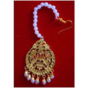 Golden Polished Tikka Maang Teeka jewellery for giddha and bhangra J0110
