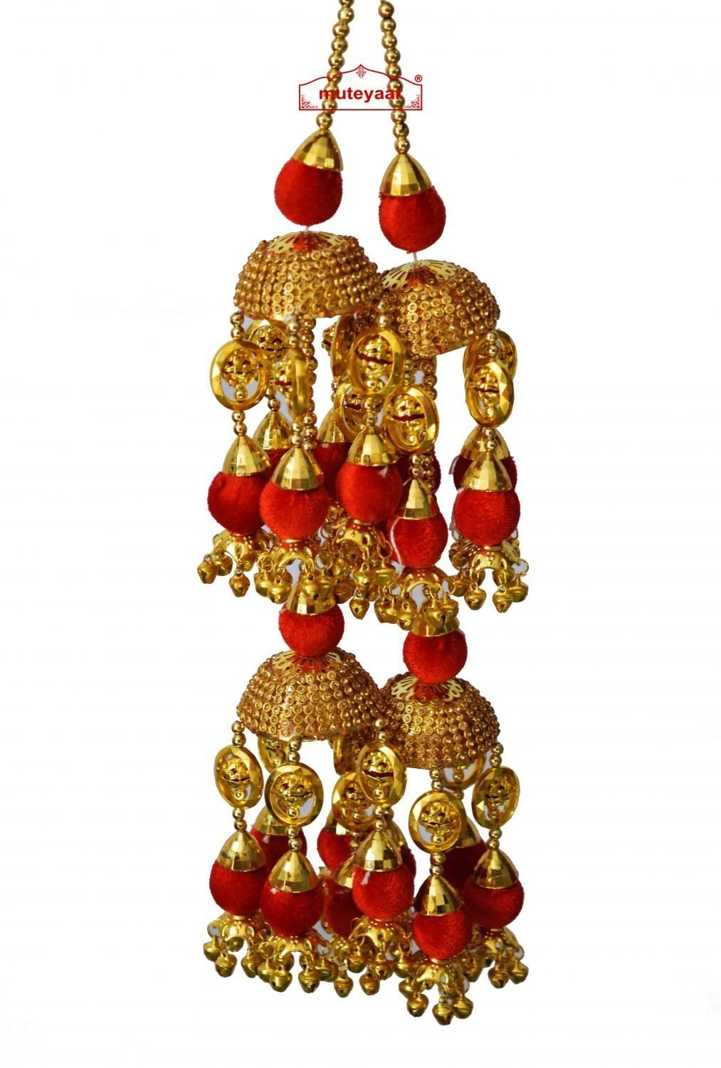 ZIRCON TAPE RED BALLS WEDDING KALEERA FOR PUNJABI BRIDE J0912 1