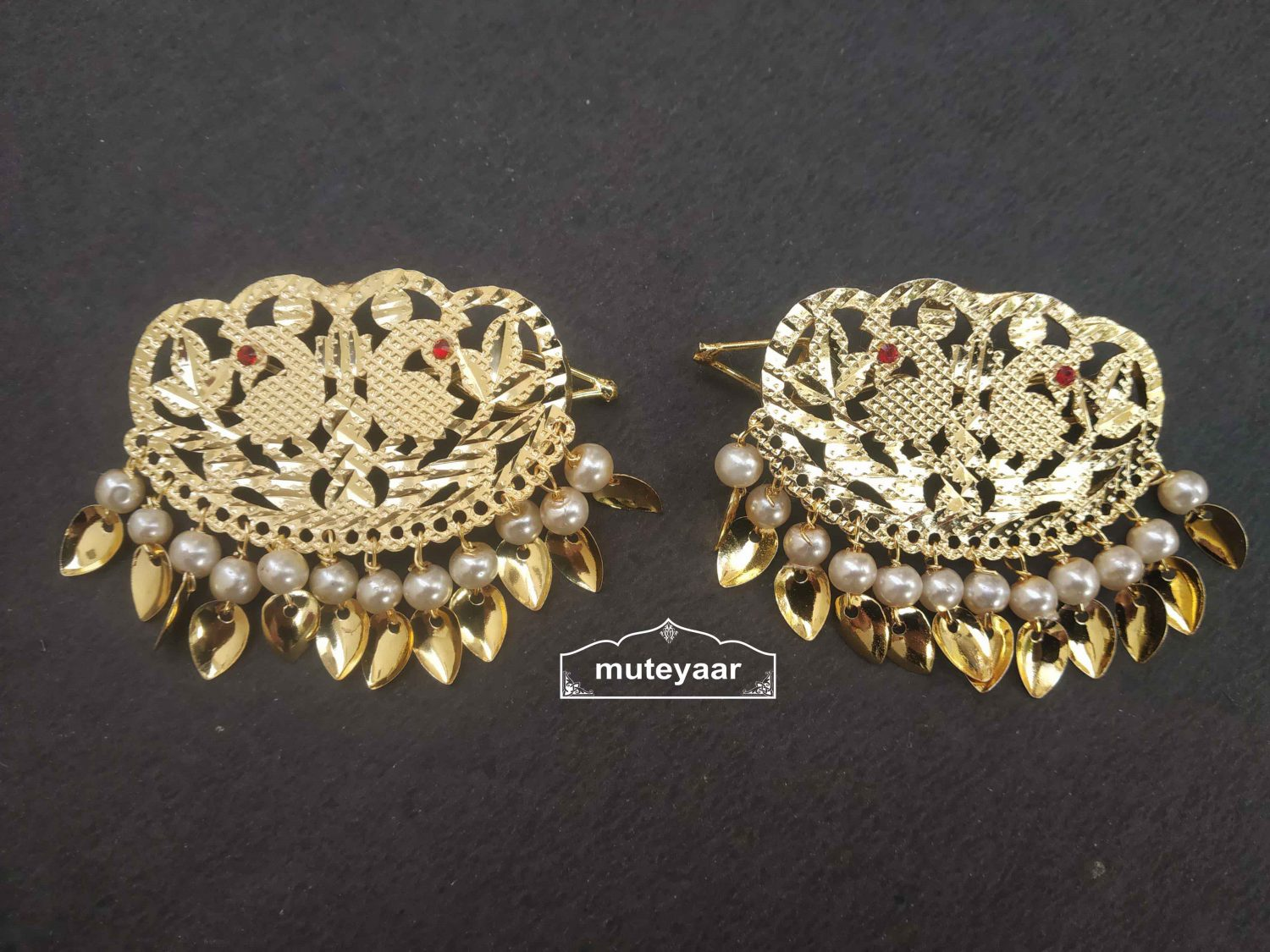Gold Polished Party Wear Hair Clips Pair with patti and moti J0463 1