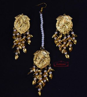 Gold Polished Punjabi Earrings Tikka set with white moti beads J0485