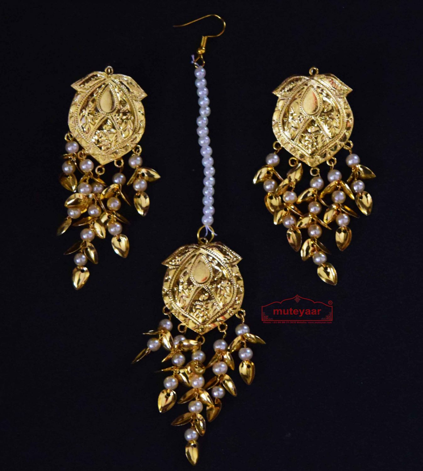 Gold Polished Punjabi Earrings Tikka set with white moti beads J0485 1