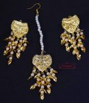 Gold Polished Punjabi Earrings Tikka set with white moti beads J0486