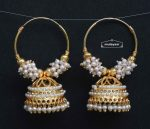Golden White Jadau Jhumki Bali Earrings J0497