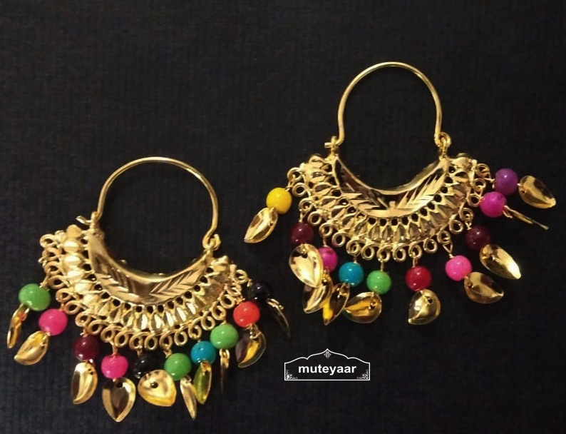 Cute Golden Bali Earrings with beads and Patti J0504 2