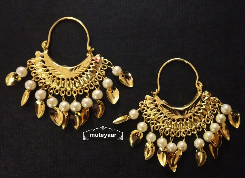 Cute Golden Bali Earrings with beads and Patti J0504 3