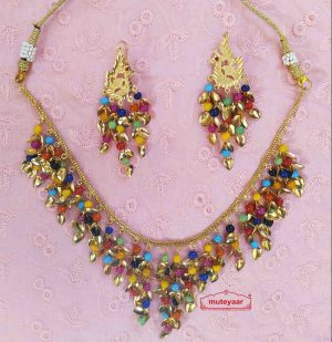 Multicolour Moti Patti Necklace with Earrings J0505